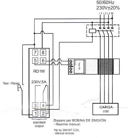 Conexión relé diferencia RD1M030 bobina de emisión