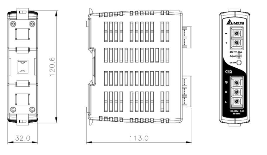 Dimensiones fuente de alimentación DELTA DRP-24V60WAZ