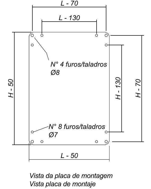Dimensiones placa de montaje armarios chapa