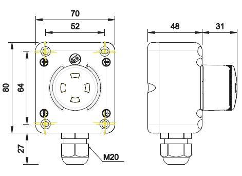 Dimensiones pulsador emergencia TLP1.VPP