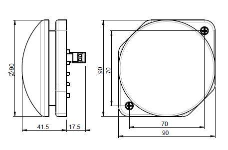 Dimensiones frente caja pulsador 90