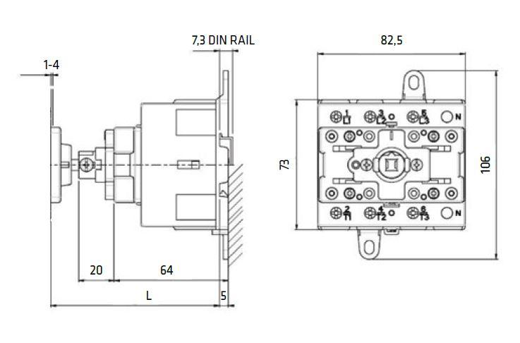Dimensiones seccionadores SE 63-80-100 fondo armario