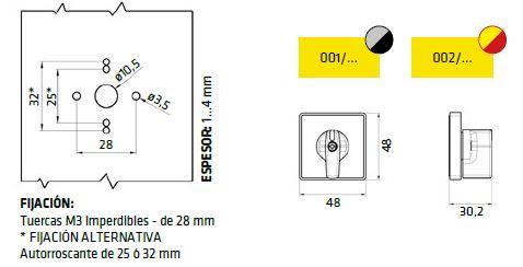 Dimensiones caratula frontal 001 y 002