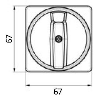 Dimensiones placa mando princial interruptores 67x67 tres bloqueo