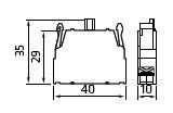 Dimensiones bloque contacto abierto PL004002 Giovenzana Adajusa
