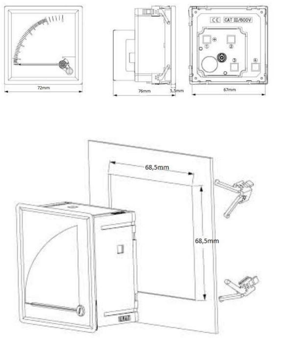 Montaje Instrumentos de medida 72x72mm
