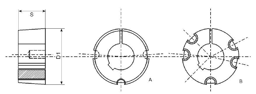 1108//24 taper-enchufe hembra taperbuchse tensora hembra 1108-24 mm bohnung según DIN 6885