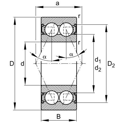 Dimensiones doble hilera contacto angular