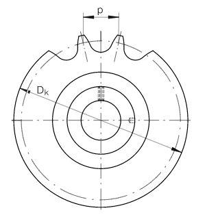 Dimensiones rueda dentada frente