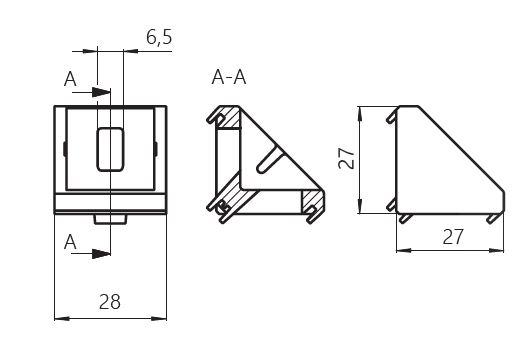 Dimensiones escuadra aluminio 30x30