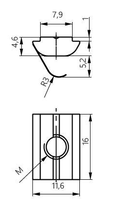 Dimensiones tuerca redonda con pestaña ranura 8mm
