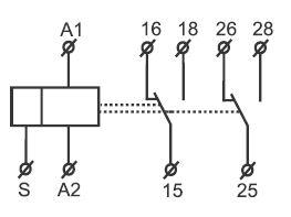 Esquema temporizador 2 contactos conmutados