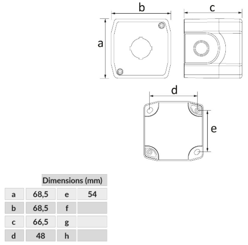 Dimensiones botonera 1 elemento BE