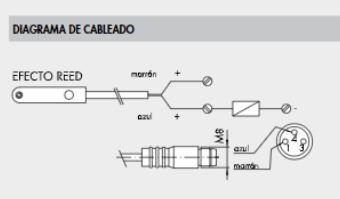 Diagrama de cableado sensor metal work tipo reed