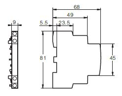 Dimensiones camara auxiliar contactor modular