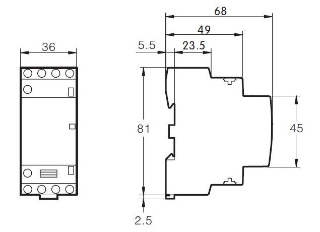 Dimensiones contactor modular 25A 4 polos