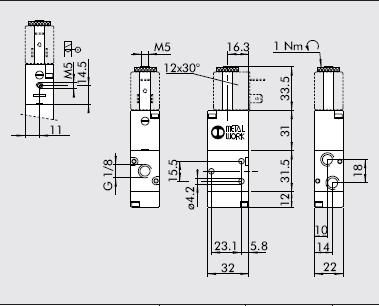 Dimensiones electrovalvula 1/8 3/2