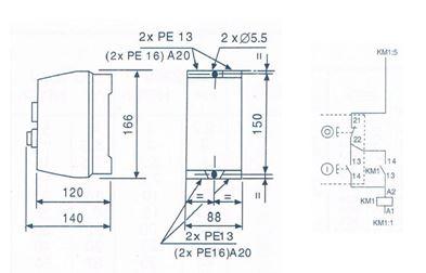 Esquema y dimensiones arrancador directo contactores