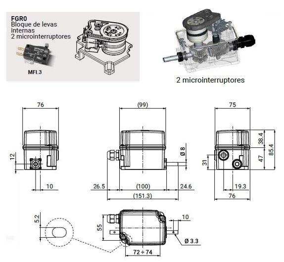 Dimensiones limitador FRG0-2A Giovenzana adajusa