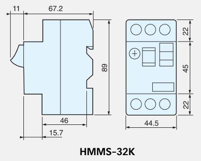 Dimensiones Disyuntor guardamotor Hyundai MMS32K adajusa