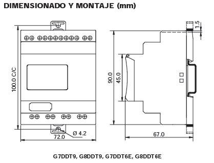 Dimensiones módulo ampliación relé logico Genie