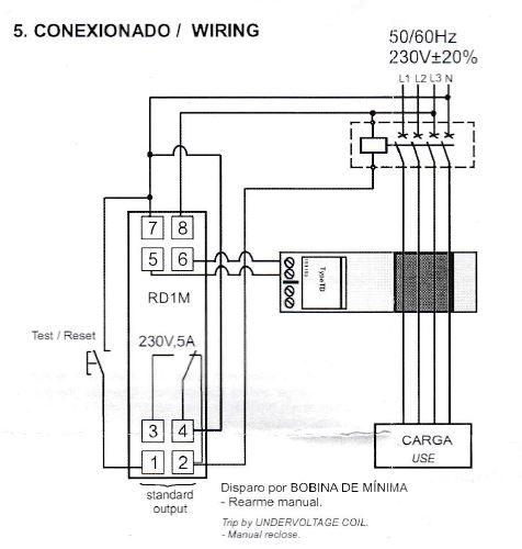Conexionado relé diferencial RD1M030 bobina de mínima