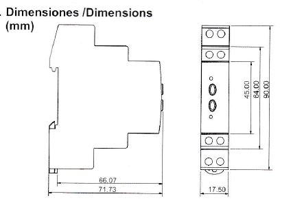 Dimensiones rele diferencial RD1M030