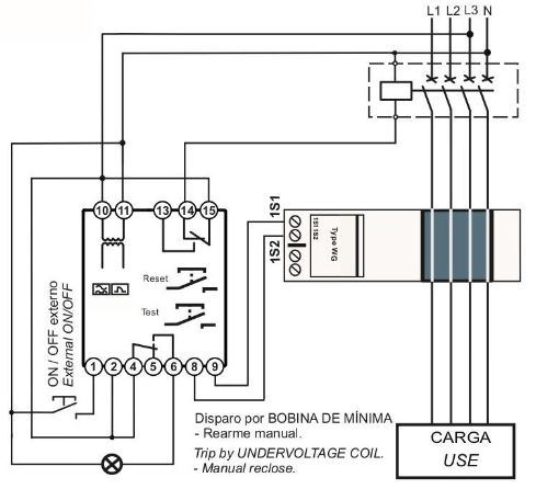 Esquema conexionado rele diferencial RDA