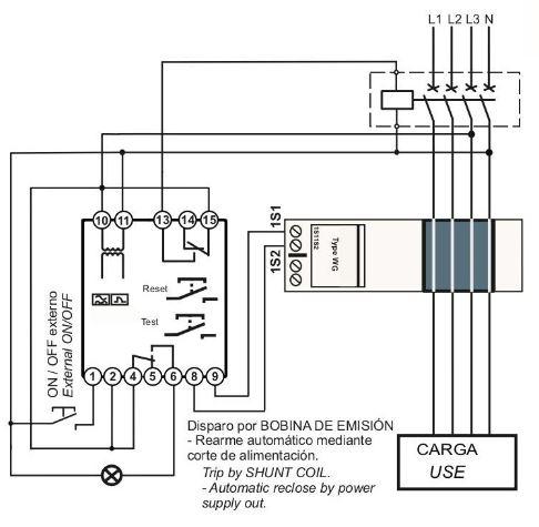 Esquema conexionado rele diferencial rearme manual