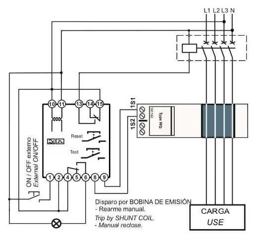 Conexionado Rele diferencial RDA bobina emision rearme automatico