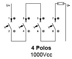 Conexionado magnetotermicos 4 polos para corriente continua DC