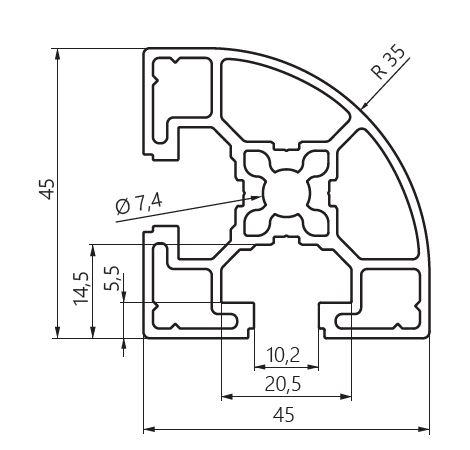 dimensiones perfil aluminio 45x45 curvo