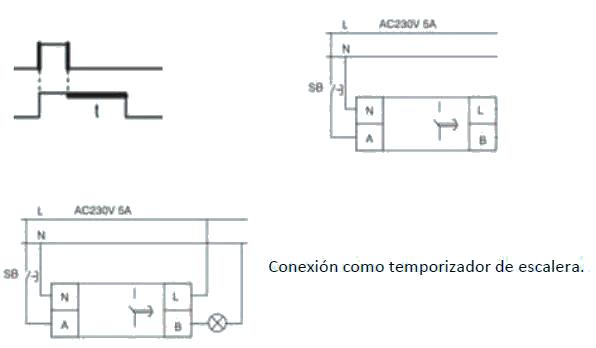 Diagrama de tiempos y conexión temporizaador NTE8-10A