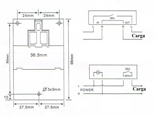Dimensiones reloj programador horario KG316 T blanco