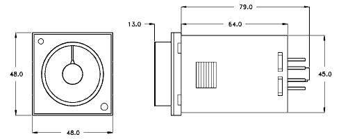 Dimensiones temporizador H3BA-8