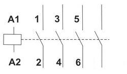 Esquema eléctrico contactor modular 4 polos