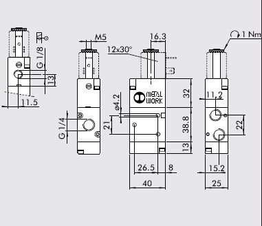 Dimensiones electrovalvula 1/4 3/2 monoestable