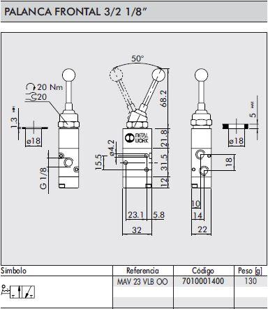 dimensiones valvula neumatica 1/8 3/2 palanca frontal
