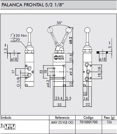 dimensiones valvula neumatica palanca frontal 1/8 5/2 biestable