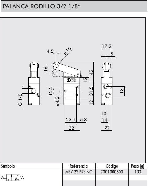 Dimensiones valvula palanca rodillo 1/8-3/2