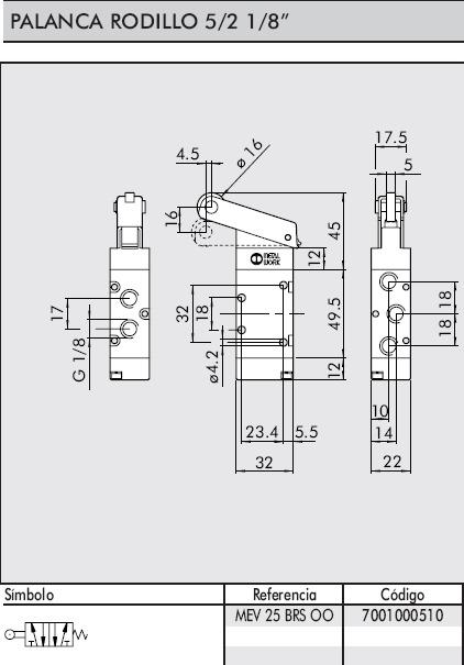 dimensiones valvula 1/8 5/2 palanca rodillo