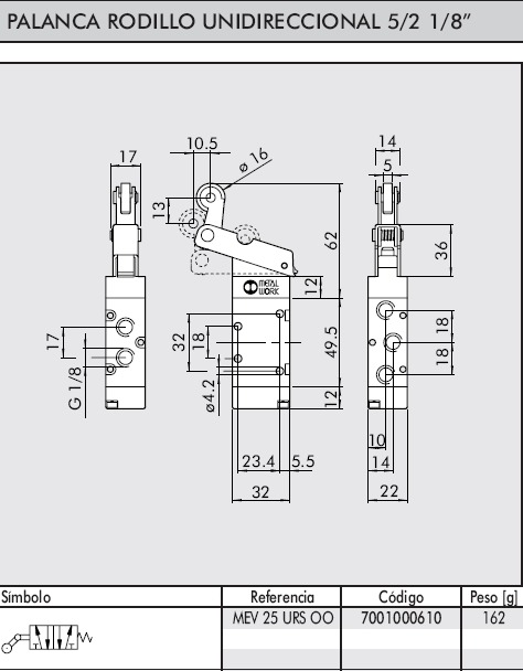 dimensiones valvula 1/8 5/2 palanca rodillo unidireccional