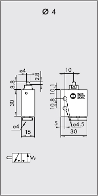 Dimensiones final de carrera neumatico piston NA racor de 4 trasero