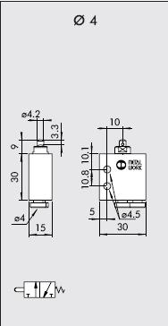 dimensiones final de carrera neumatico piston Nc racores traseros de 4
