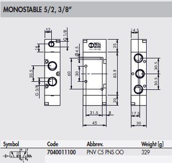 Dimensiones-valvula-neumatica-3-8-monoestable