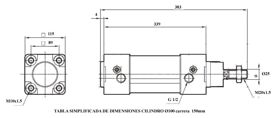 Dimensiones cilindros neumáticos diametro 100 carrera 150mm